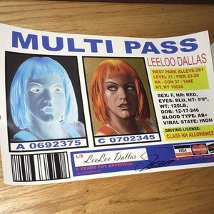 Fifth Element Leeloo Dallas Multipass Poster